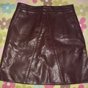 Size S, A-line maroon + leather skirt from Zara!